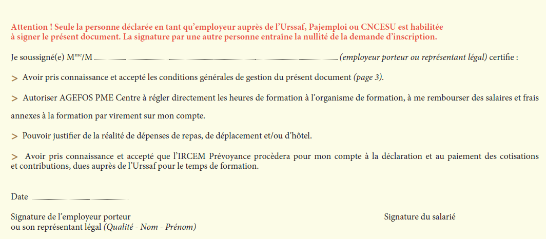 bulletin d'inscription formation continue iperia page 2